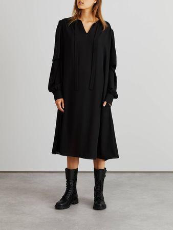 Balenciaga  - Midikleid mit  Schluppenkragen und doppeltem Ärmel Schwarz grau