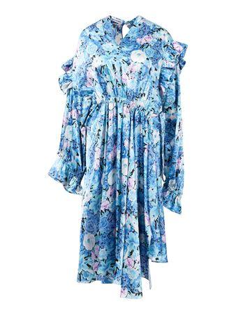 Balenciaga  - Midikleid 'Twisted Ruffle' mit Blumenprint Multi grau