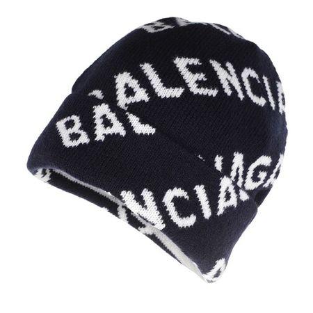 Balenciaga  Mützen - Logo All Over Beanie Wool - in blau - für Damen