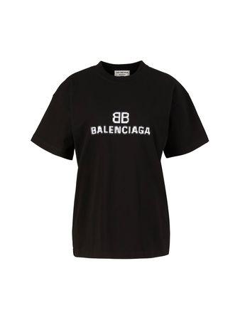 Balenciaga  - Oversize T-Shirt mit Logo-Print Schwarz