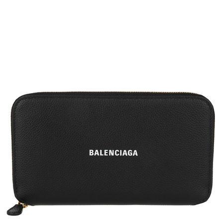Balenciaga  Portemonnaie  -  Cash Zip Around Wallet Black White  - in schwarz  -  Portemonnaie für Damen schwarz