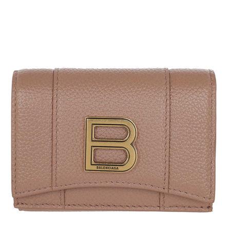 Balenciaga  Portemonnaie - Hourglass Mini Wallet Grained Leather - in beige - für Damen braun