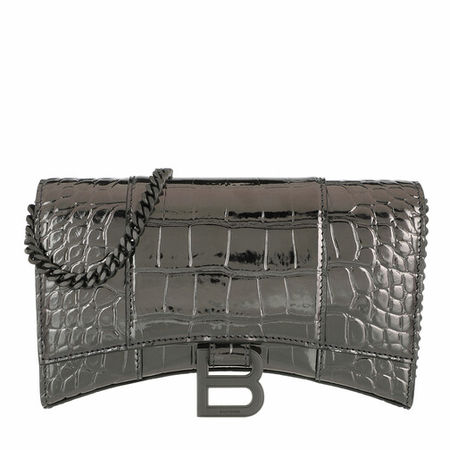 Balenciaga  Portemonnaie - Hourglass Mini Wallet On Chain Embossed Croc - in silber - für Damen