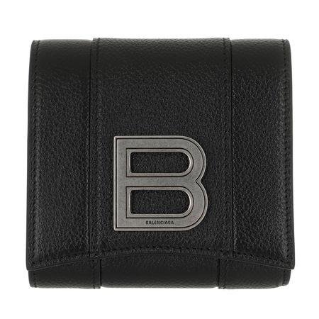 Balenciaga  Portemonnaies - Hourglass Coin And Card Holder Leather - in schwarz - für Damen schwarz
