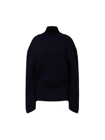 Balenciaga  - Rollkragenpullover Dunkelblau schwarz