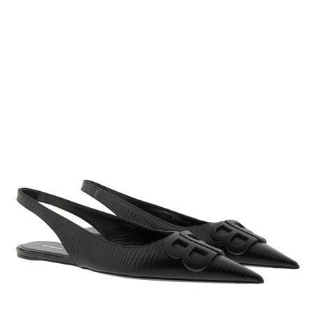 Balenciaga  Sandalen & Sandaletten - Bb Slingback Ballet Flats Leather - in schwarz - für Damen schwarz