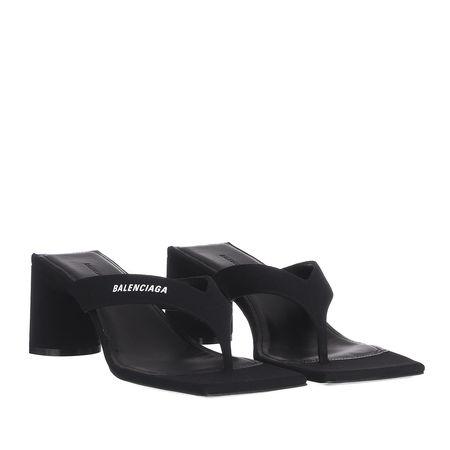 Balenciaga  Sandalen  -  Logo Square Sandals Leather Black  - in schwarz  -  Sandalen für Damen schwarz