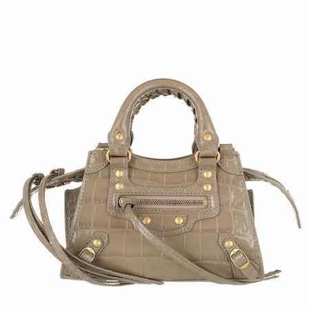 Balenciaga  Satchel Bag - Neo Classic City Nano Bag Embossed Croc - in grau - für Damen