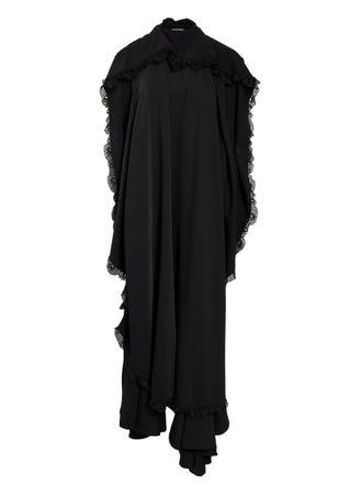 Balenciaga  Schluppenkleid Mit Spitzenbesatz schwarz schwarz