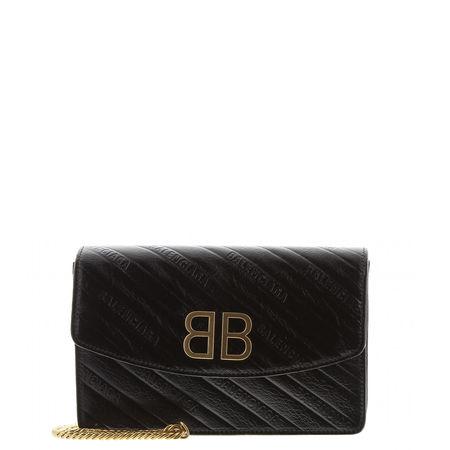 Balenciaga  - Schultertasche Chainwallet aus Leder schwarz