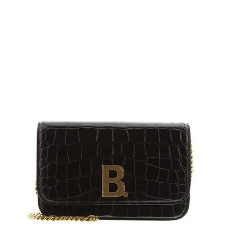 Balenciaga  - Schultertasche Wallet B aus geprägtem Leder schwarz