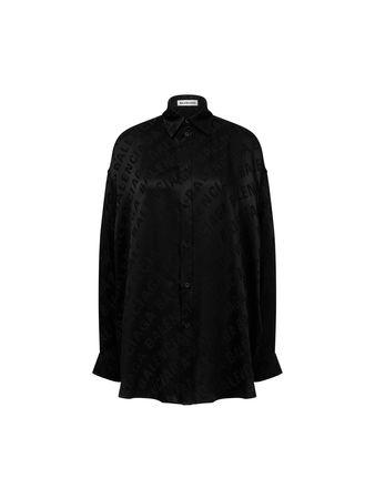 Balenciaga  - Seidenbluse mit Logo-Print Schwarz schwarz
