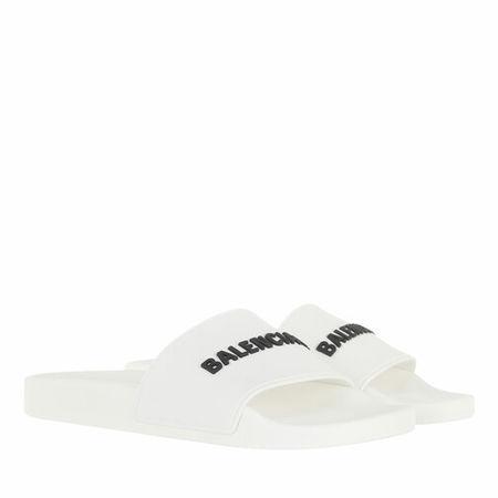 Balenciaga  Slipper & Pantoletten - Logo Pool Slides - in white - für Damen
