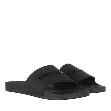 Balenciaga  Slipper & Pantoletten - Slide Logo Sandals - in schwarz - für Damen