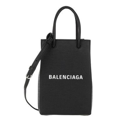 Balenciaga  Smartphone Cases - Shopping Phone Holder Bag Leather - in schwarz - für Damen schwarz