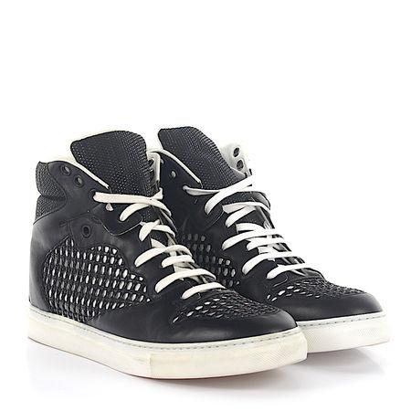 Balenciaga Sneaker High Top Leder schwarz Lochmuster grau