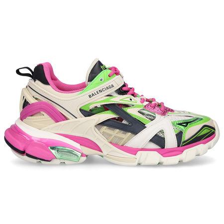 Balenciaga  Sneaker low TRACK2 Kalbsleder Materialmix Logo grün rosa weiß braun