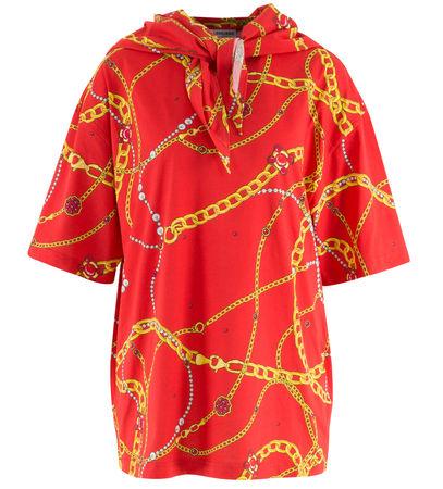 Balenciaga  - T-Shirt Chains mit Kettenprint aus Baumwolle rot