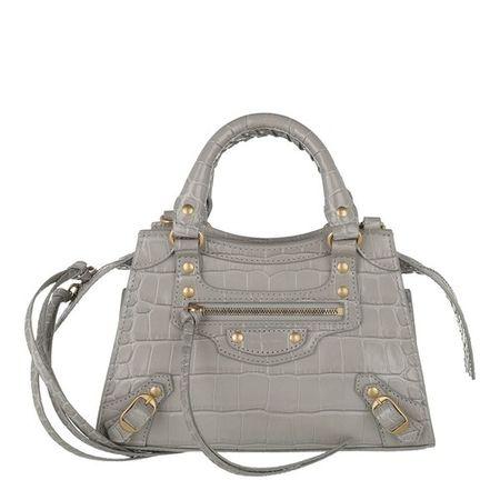 Balenciaga  Tote - Mini Neo Classic Bag Croc Embossed Leather - in grau - für Damen