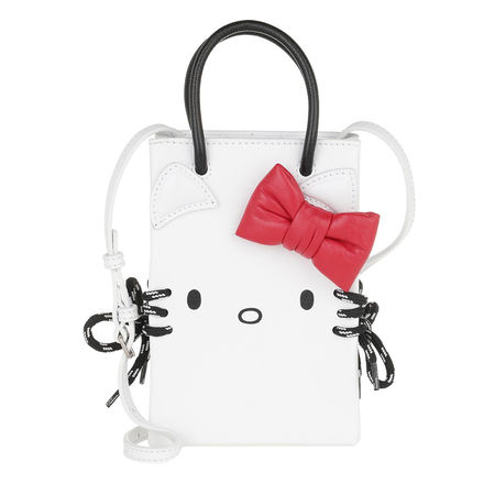 Balenciaga  Umhängetasche  -  Kitty Phone Holder Shoulder Bag Leather White  - in weiß  -  Umhängetasche für Damen grau