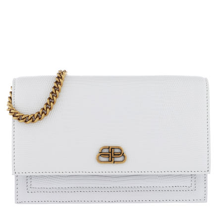 Balenciaga  Umhängetasche  -  Sharp Clutch With Pocket On Chain Leather White  - in weiß  -  Umhängetasche für Damen braun