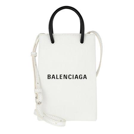 Balenciaga  Umhängetasche  -  Shopping Phone Holder Bag Leather White  - in weiß  -  Umhängetasche für Damen grau