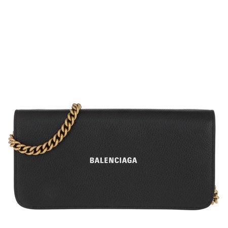 Balenciaga  Umhängetasche  -  Wallet On Chain Grained Leather Black  - in schwarz  -  Umhängetasche für Damen grau