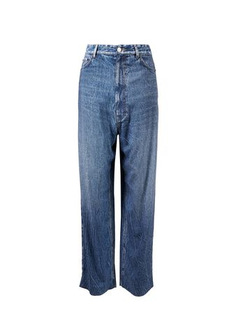 Balenciaga  - Viskose-Hose mit Jeansprint Blau