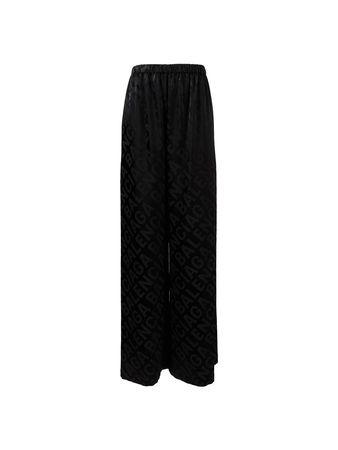 Balenciaga  - Weite Hose mit Logoprint Schwarz schwarz