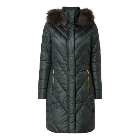 Barbour Steppmantel mit Fake Fur grau