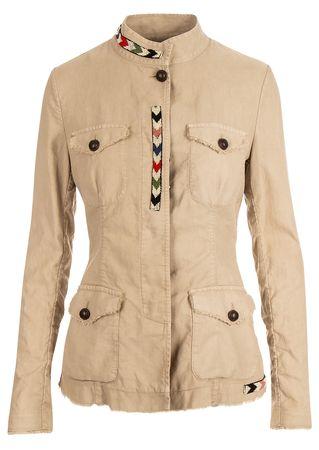Bazar De Luxe Jacke in Grau-Beige mit Perlen-Details braun
