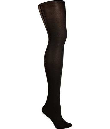 Fogal  Black/Black Bijoux Tights with Silver Swarovski Crystals schwarz