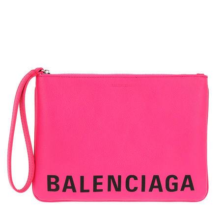 Balenciaga  Pochette  -  Medium Cash Pouch Leather Acid Fuchsia/Black  - in pink  -  Pochette für Damen pink