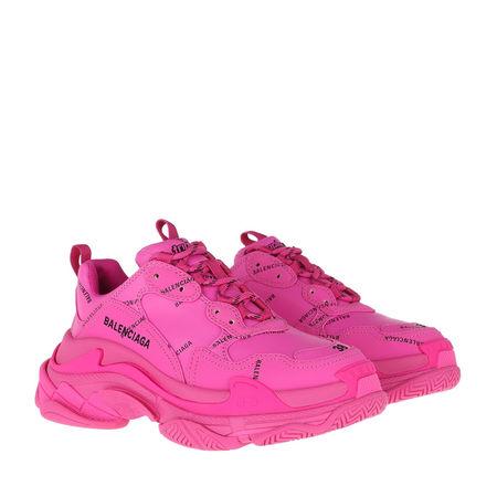 Balenciaga  Sneakers  -  Triple S All Over Logo Sneakers Pink/Black  - in pink  -  Sneakers für Damen pink