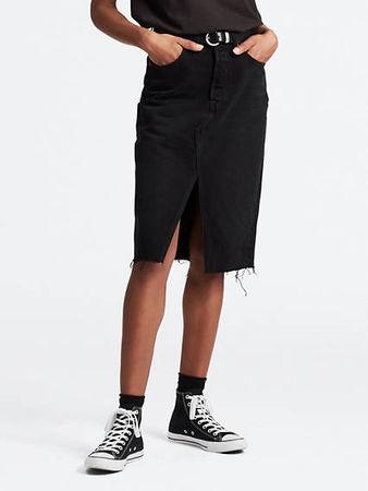 Levi's  Deconstructed Mini Skirt - Schwarz / Black Mark Damen