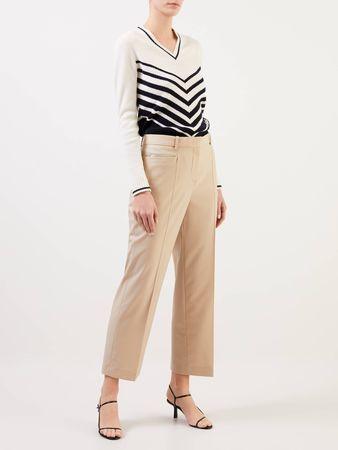 Valentino  - Pullover mit V-Ausschnitt Weiß/Blau braun