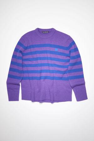 Acne Studios  FA-UX-KNIT000035 Violett/Blau  Gestreifter Pullover