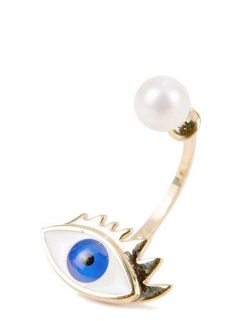 Delfina Delettrez  - Ohrring mit Perle 'Eye' Gold/Blau grau
