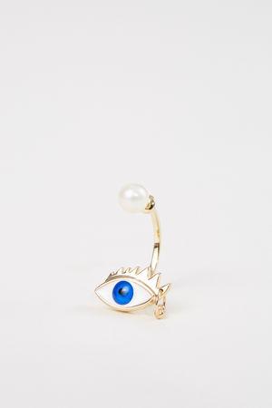 Delfina Delettrez  - Ohrring 'Eye Piercing' Gold/Blau grau