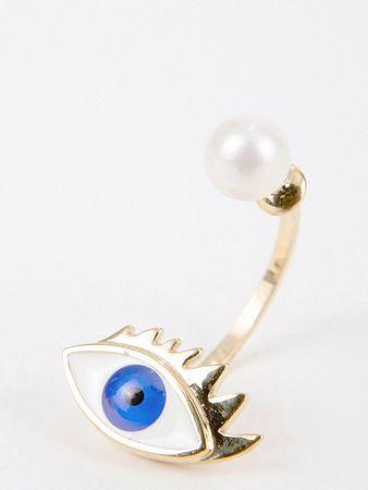 Delfina Delettrez  - Ohrring mit Perle 'Eye' Gold/Blau weiss