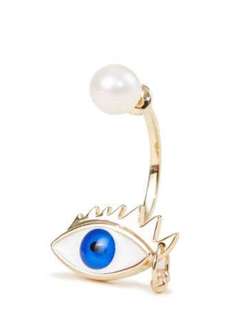 Delfina Delettrez  - Ohrring 'Eye Piercing' Gold/Blau weiss