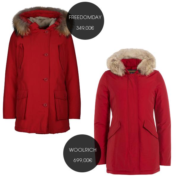 Rote Winterjacken von Freedomday und Woolrich