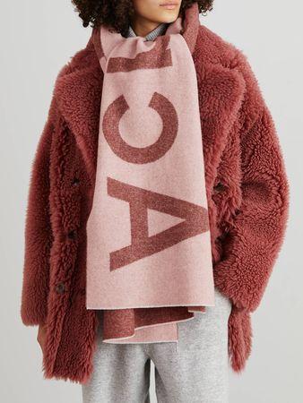 Acne Studios  - Woll-Schal 'Toronty' mit Logoprint Pink/Bordeaux grau