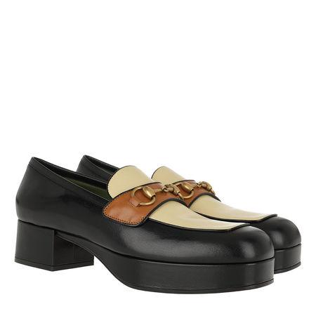 Gucci  Ballerinas  -  Horsebit Platform Loafer Leather Black/Brown  - in schwarz  -  Ballerinas für Damen schwarz