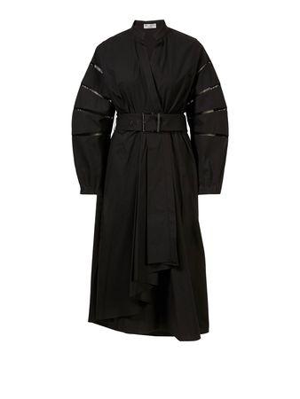Brunello Cucinelli  - Baumwoll-Kleid mit Lochstickerei Schwarz