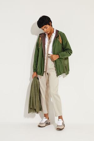 Brunello Cucinelli  - Baumwoll-Seiden-Jacke mit Perlenverzierung Grün grau