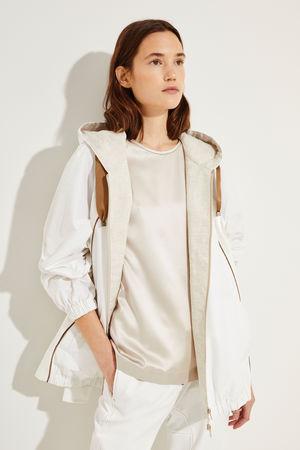 Brunello Cucinelli  - Baumwoll-Seiden-Jacke mit Perlenverzierung Weiß