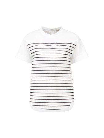 Brunello Cucinelli  - Baumwoll-T-Shirt gestreift Weiß