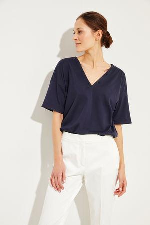 Brunello Cucinelli  - Baumwoll T-Shirt mit Perlen-Details Marineblau - 100% Baumwolle Made in Italy