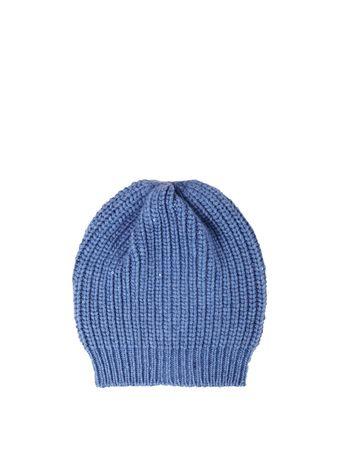 Brunello Cucinelli  - Cashmere-Seiden-Mütze mit Paillettendetails Blau blau